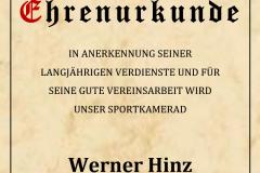 Ehrenurkunde Werner Hinz